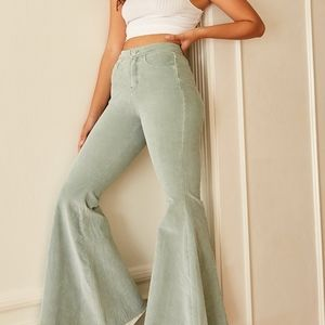 NEW Free People CRVY Mint Cord Lace Up Flares 34